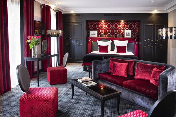 Une des chambres de l'hôtel Edouard 7 à Paris
